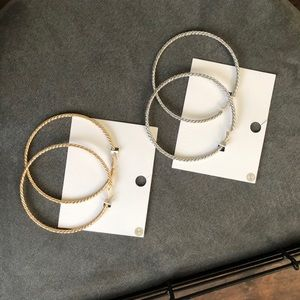 Extra Large Gold and Silver Pairs of Hoops